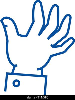 Help hand line icon concept. Help hand flat  vector symbol, sign, outline illustration. - Stock Photo
