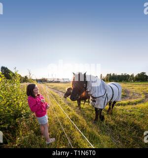 Girl and a horse. Dalarna / Dalecarlia, Sweden, Scandinavia. - Stock Photo