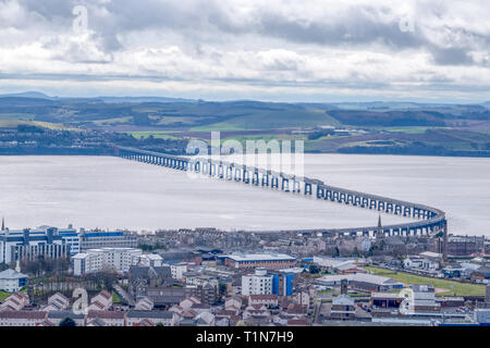 From the monument at Dundee law Hill looking down over the city to the Fourth or Tay Railway Bridge Dundee Scotland - Stock Photo