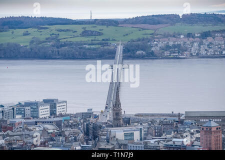 From the monument at Dundee law Hill looking down over the city to the Fourth or Tay Road Bridge Dundee Scotland. - Stock Photo