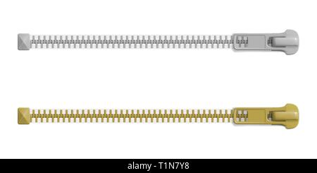 Set of closed zipper locks with different sizes, blank mockup. Realistic vector illustration - Stock Photo