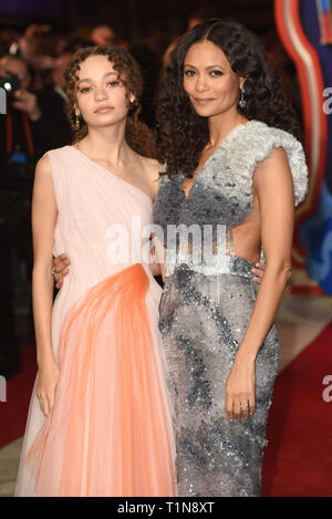 Photo Must Be Credited ©Alpha Press 079965 21/03/2019 Nico Parker and Thandie Newton Dumbo European Premiere At Curzon Mayfair London - Stock Photo