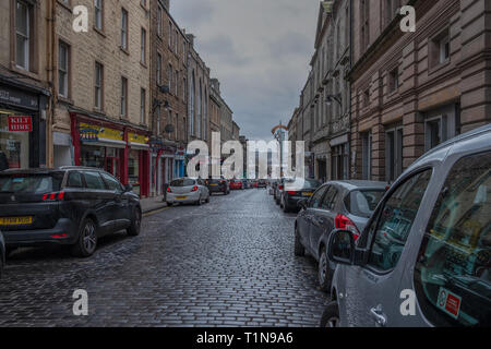Dundee, Scotland, UK - March 22, 2019: Looking down Crichton Street in the city Centre of Dundee - Stock Photo