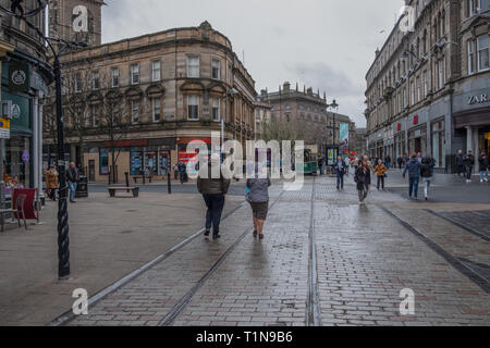 Dundee, Scotland, UK - March 22, 2019: Looking along High Street in the city centre of Dundee in Scotland. - Stock Photo