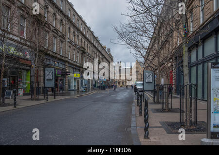 Dundee, Scotland, UK - March 22, 2019: Looking along Commercial Street in the city centre of Dundee in Scotland. - Stock Photo