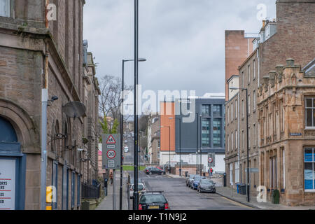 Dundee, Scotland, UK - March 22, 2019: Euclid Street   leading up to the university in Dundees city Centre. - Stock Photo