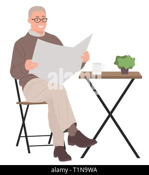 Cartoon people character design senior man reading newspaper sitting by a coffee table. Ideal for both print and web design. - Stock Photo