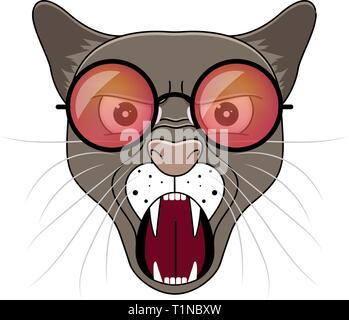 Head of puma in hipster sunglasses . Animal cartoon vector illustrtation. - Stock Photo