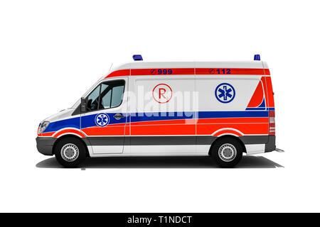 3d rendering of Ambulance or emergency truck of rescue service with paramedics hurry for injured person or accident victim to the hospital - Stock Photo