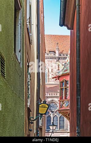 Freiburg (Germany): small passage, leading to the Münster; enge Passage, die zum Münsterplatz führt - Stock Photo