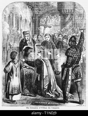 The Coronation of William the Conqueror, Illustration from John Cassell's Illustrated History of England, Vol. I from the earliest period to the reign of Edward the Fourth, Cassell, Petter and Galpin, 1857 - Stock Photo