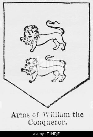 Arms of William the Conqueror, Illustration from John Cassell's Illustrated History of England, Vol. I from the earliest period to the reign of Edward the Fourth, Cassell, Petter and Galpin, 1857 - Stock Photo