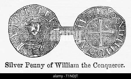 Silver Penny of William the Conqueror, Illustration from John Cassell's Illustrated History of England, Vol. I from the earliest period to the reign of Edward the Fourth, Cassell, Petter and Galpin, 1857 - Stock Photo