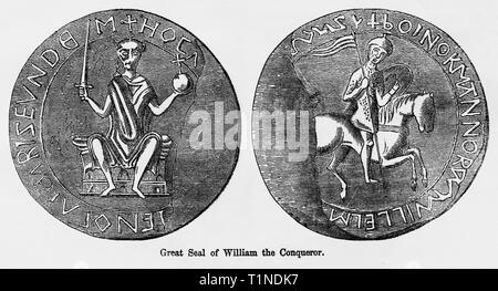 Great Seal of William the Conqueror, Illustration from John Cassell's Illustrated History of England, Vol. I from the earliest period to the reign of Edward the Fourth, Cassell, Petter and Galpin, 1857 - Stock Photo