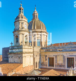 Domes of Saint Agatha Cathedral of Catania in Sicily, Italy - Stock Photo