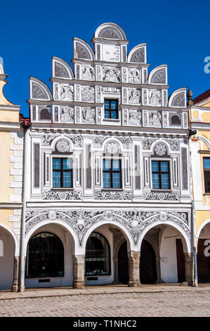 A facade of Renaissance house in Telc, Region Vysocina, Czech Republic - Stock Photo