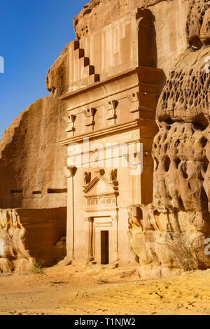 Rock-cut Nabatean tombs of Mada'in Sale, a UNESCO world heritage site in Saudi Arabia. - Stock Photo