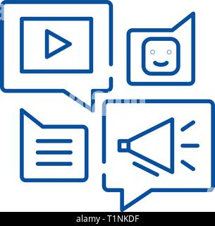 Media online library line icon concept. Media online library flat  vector symbol, sign, outline illustration. - Stock Photo
