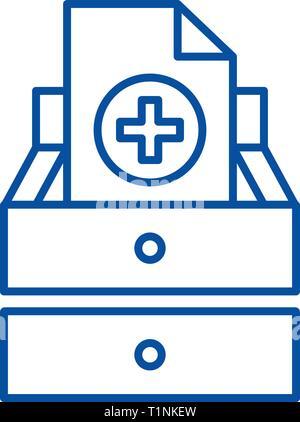 Medical tests line icon concept. Medical tests flat  vector symbol, sign, outline illustration. - Stock Photo
