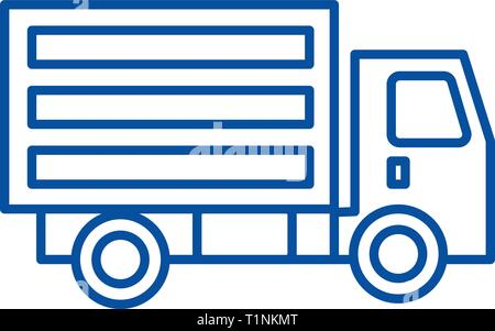 Mini truck line icon concept. Mini truck flat  vector symbol, sign, outline illustration. - Stock Photo