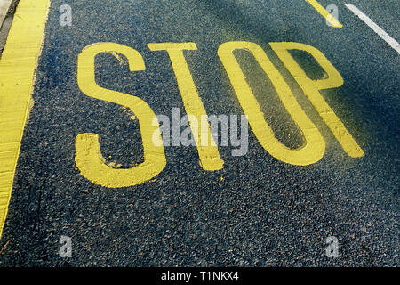 Yellow painted Stop road marking on UK road - Stock Photo