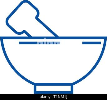 Mortar and pestle line icon concept. Mortar and pestle flat  vector symbol, sign, outline illustration. - Stock Photo