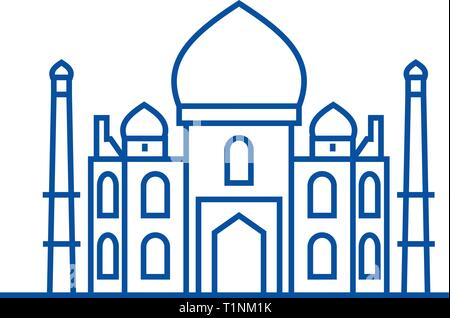 Mosque, islam line icon concept. Mosque, islam flat  vector symbol, sign, outline illustration. - Stock Photo
