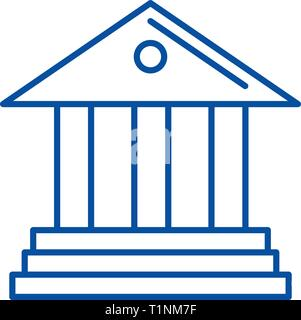 Museum,bank line icon concept. Museum,bank flat  vector symbol, sign, outline illustration. - Stock Photo