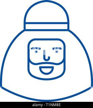 Muslim man line icon concept. Muslim man flat  vector symbol, sign, outline illustration. - Stock Photo
