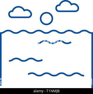 Ocean line icon concept. Ocean flat  vector symbol, sign, outline illustration. - Stock Photo