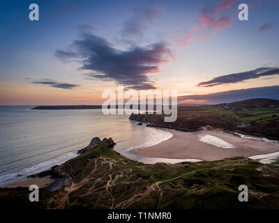 Aerial view of Three Cliffs Bay south coast beach the Gower Peninsula Swansea Wales uk - Stock Photo