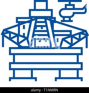 Oil platform, rig line icon concept. Oil platform, rig flat  vector symbol, sign, outline illustration. - Stock Photo