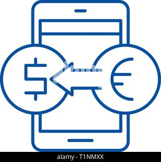 Online currency exchange line icon concept. Online currency exchange flat  vector symbol, sign, outline illustration. - Stock Photo