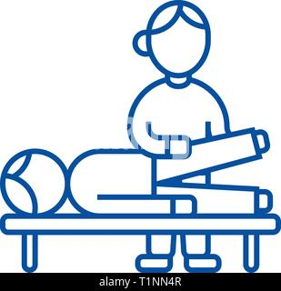 Osteopathy,manual therapy,massage line icon concept. Osteopathy,manual therapy,massage flat  vector symbol, sign, outline illustration. - Stock Photo