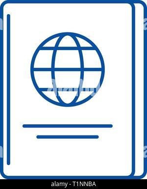 Passport line icon concept. Passport flat  vector symbol, sign, outline illustration. - Stock Photo