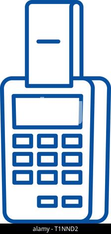 Payment by terminal line icon concept. Payment by terminal flat  vector symbol, sign, outline illustration. - Stock Photo