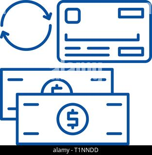 Payment methods line icon concept. Payment methods flat  vector symbol, sign, outline illustration. - Stock Photo