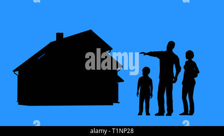 Family buying a house. Real estate purchase or insurance concept. Family standing in front of the house. Man and woman planning on building a house. - Stock Photo
