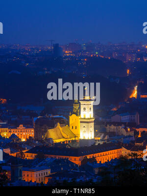 Lviv, Ukraine- August 31, 2018: Evening view of the city center. Town Hall Tower - Stock Photo