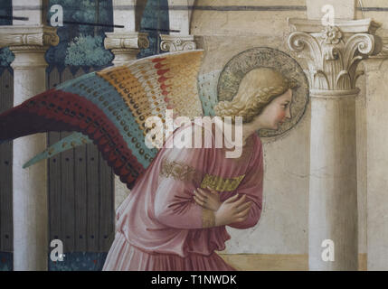 Archangel Gabriel depicted in the fresco 'Annunciation' by Italian Early Renaissance painter Fra Angelico (1442-1443) in the north corridor in the San Marco Convent (Convento di San Marco), now the San Marco Museum (Museo Nazionale di San Marco) in Florence, Tuscany, Italy. - Stock Photo