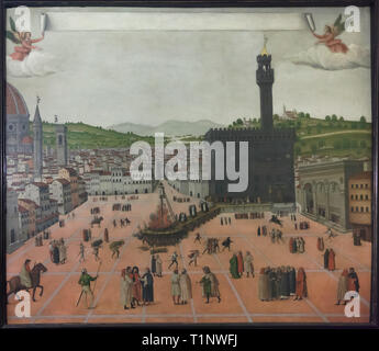 Painting 'Martyrdom of Girolamo Savonarola in Piazza della Signoria on 23 May 1498' by an unknown painter dated from the end of the 15th century on display in Savonarola's cell at the San Marco Convent (Convento di San Marco), now the San Marco Museum (Museo Nazionale di San Marco) in Florence, Tuscany, Italy. - Stock Photo