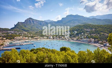 Panoramic view of Port de Soller, Mallorca, Spain. - Stock Photo