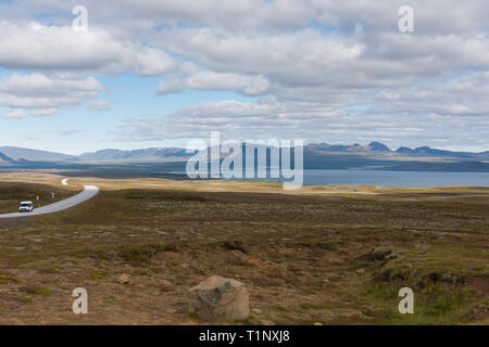 Route Number One (Ring Road) is a national road in Iceland that runs around the island - Stock Photo