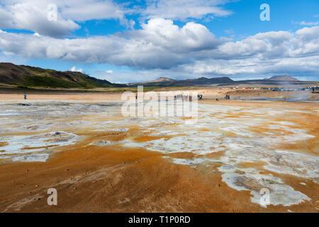 Fumarole field in Namafjall, Iceland. Geothermal beauty landscape. - Stock Photo