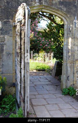 Old wooden garden door in a garden wall in England. - Stock Photo