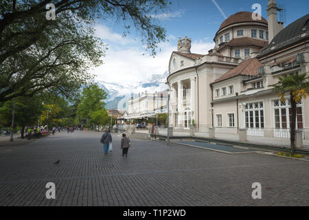 The most beautiful promenade in Merano is, however, the Tappeiner Trail. Along the way you can admire the characteristic South Tyrolean historic build - Stock Photo
