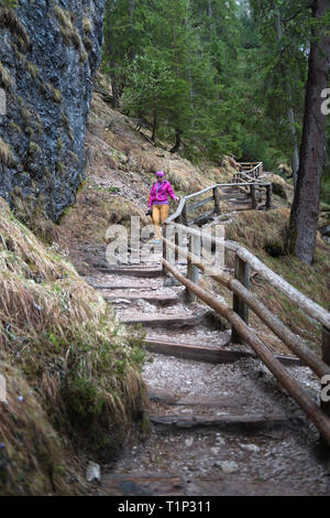 Woman walking around the Braies lake, Dolomites Italy - Stock Photo