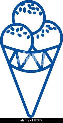 Ice cream cone line icon concept. Ice cream cone flat  vector symbol, sign, outline illustration. - Stock Photo