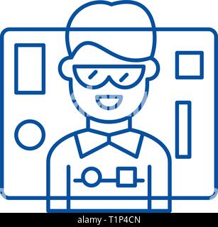 Interface design line icon concept. Interface design flat  vector symbol, sign, outline illustration. - Stock Photo