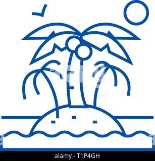 Island with palms line icon concept. Island with palms flat  vector symbol, sign, outline illustration. - Stock Photo